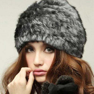 Russian Lady Rabbit Fur Knitted Cap Women Winter Warm Beanie Hat Chrismas Gift Z