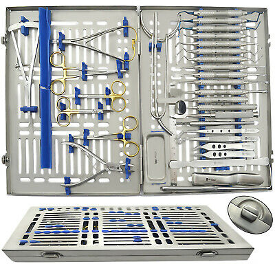 17PCS Dental Surgical Implantology Kit Advanced Dentistry Instruments Lab+Tray