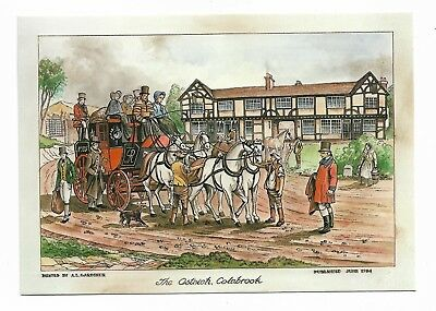 Bristol To London Mailcoach Outside Ostrich Inn Colnbrook Postcard 964D