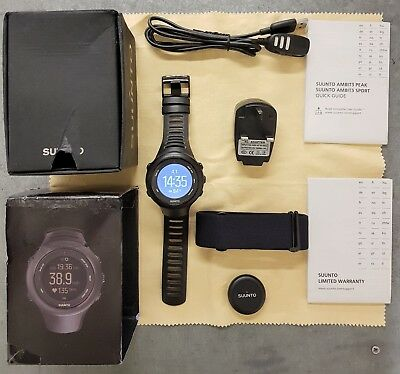 Boxed Suunto Ambit3 Sport Black HR GPS Fitness Watch with Heart Rate Monitor