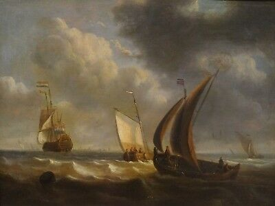 Fine 17th 18th Century Dutch Ships Navy Coastal Marine Oil Antique Painting