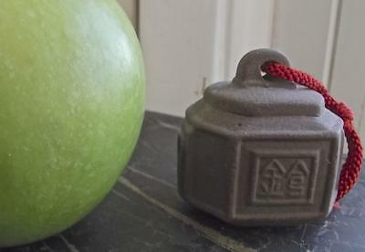 Chinese Yixing Zisha Purple Clay Small Temple Bell with Carved Characters