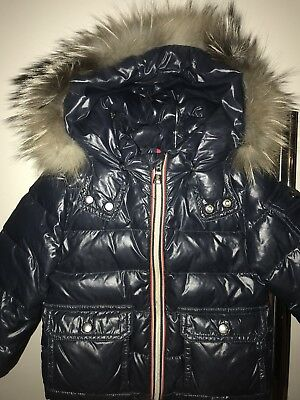 Moncler Blue Jacket Infant Kids boy With Real Fur Fox Authentic 12/18 Month