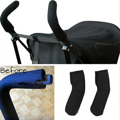 HK- 2Pcs Baby Carriage Stroller Pram Handle Bar Grip Protective Cover Sleeve Gra