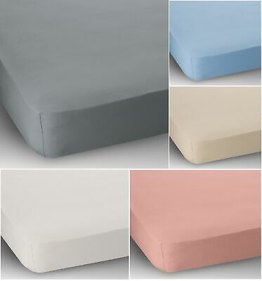"""15"""" Extra Deep Small Double Bed Cotton Jersey Fitted Sheet Blue Cream Pink White"""