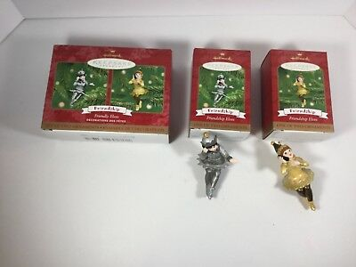Hallmark Ornament 2001 Friendly Elves Friendship Shareable Ornaments Set of 2