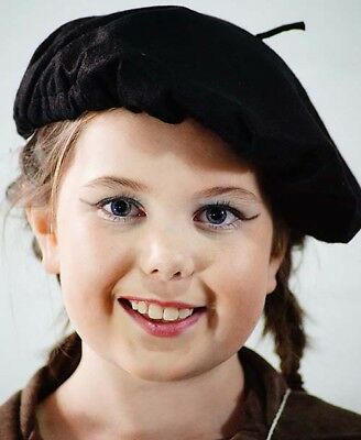 1940's-Wartime-History-School Day-Fancy Dress-French-Unisex 1940'S BLACK BERET