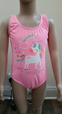 Primark Girls I Wish I Was A Unicorn Swimming Costume Swimsuit New All Ages Pink