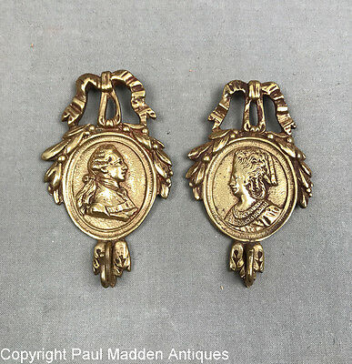 Rare Pair of Antique French Cast Brass Picture Hangers