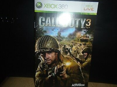 Manual For Xbox 360 Call Of Duty 3,  No Game,   Just Manual !!!!!!!!!!!!!!