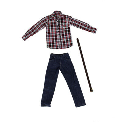 Red Plaid Shirt Jeans Pants Clothes Set FOR 1/6 12'' HOT TOYS Male FIGURE