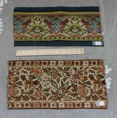 2 Lovely French Antique Heavy Jacquard Woven Border Fabrics c1870-1880