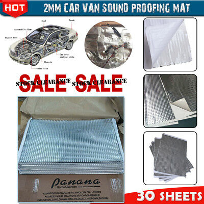 SALE 2mm 30 Sheets Car Sound Deadening Vibration Proofing Damping Mat Less Noise