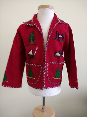 Vintage Mexican 50's Child's Red Wool Jacket