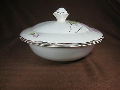 Stavangerflint Norway Covered Serving Dish Decorations on Top & Inside Gold Trim