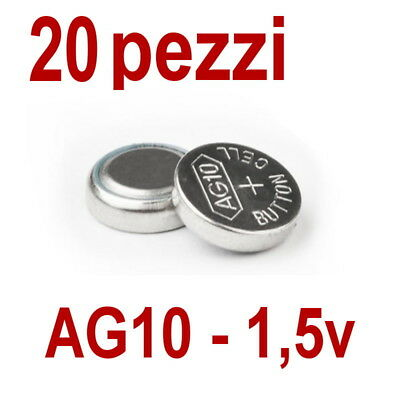 20 pile ag10 lr1130 lr1131 lr54 1 5v batteria bottone pila for Batteria bottone lr1130
