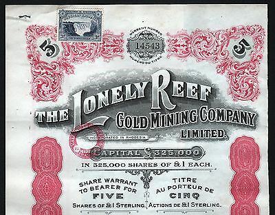 1939 Rhodesien, Afrika: The Lonely Reef Gold Mining Company Limited