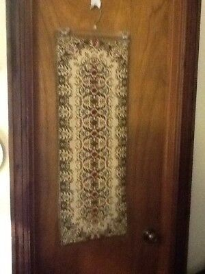 Lovely And Rare Antique Vintage Needlepoint Table Runner Gold Lace Trim Cotton B