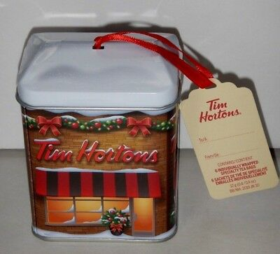 NEW 2017 Tim Hortons CANADA Christmas Ornament Tea Box Tin Holiday Storefront