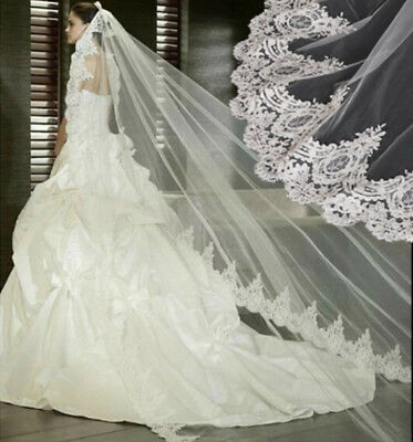 Cathedral Bridal Veil French Lace with Comb on