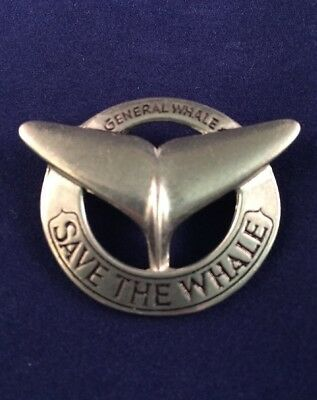 Vintage Save The Whale Pin 1971 General Whale