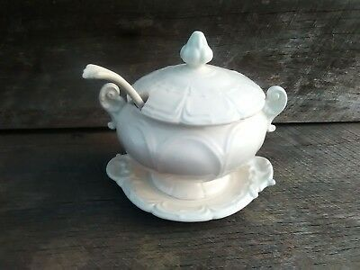 Vintage Soup Tureen Set ,Old French White Tureen with Underplate and Ladel