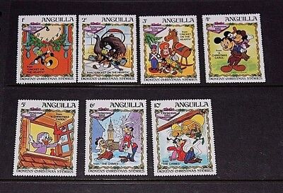 Anguilla Disney Characters Mickey Mouse,donald Duck, Set Of 7 Fine M/n/h