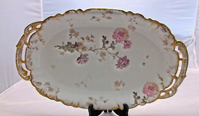 Antique CFH GDM Charles Field Haviland Limoges Hand Painted Floral Tray Platter