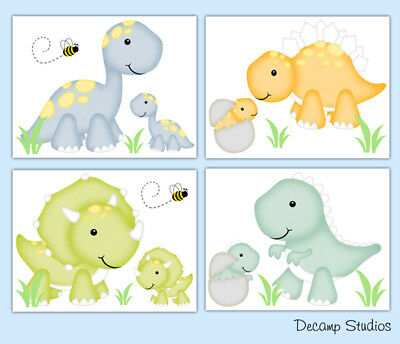 Dinosaur Nursery Prints Wall Art Room Decor Baby Boy Girl Neutral Kids Bathroom