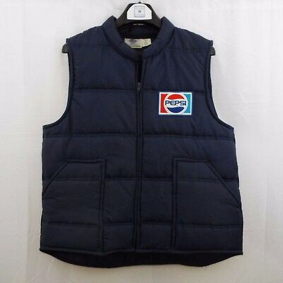 Riverside Men's L PEPSI 100% Polyester Vest Jacket Blue Retro Delivery Made USA