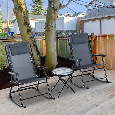 Stupendous Outsunny 3 Piece Outdoor Rocking Chair Patio Table Seating Machost Co Dining Chair Design Ideas Machostcouk