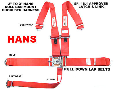 Red Hans Race Harness 5 Point Sfi 16.1 For Head & Neck Restraint Devices