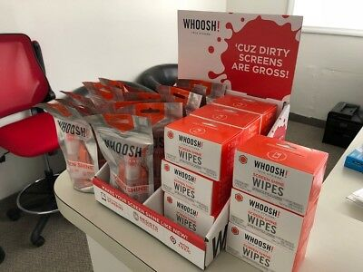 Whoosh! Retail Display with 14 - 1oz Spray with Cloth and 12 - 12 Count Wipes