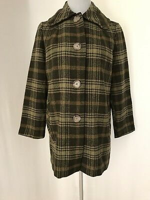 Woman's 50's Pendleton Wool Blazer Coat  Green Couch Plaid S/M Size