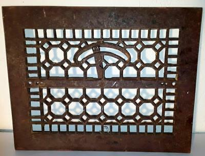 "Antique Arts & Crafts Era Cast Iron Heating Grate 14"" × 11"" From I R & M Co."