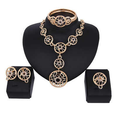 HK- Fashion Women Luxury Gold Plated Necklace Bangle Earring Ring Jewelry Set Ex