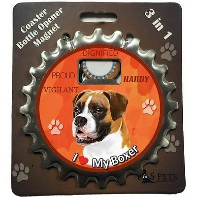 Boxer Uncropped Dog Bottle Ninja Stainless Steel Coaster Opener Magnet