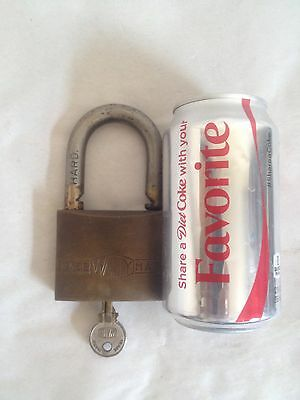 Vintage WALLY Large Padlock Brass / Bronze Body Steel  With Key Made in Italy
