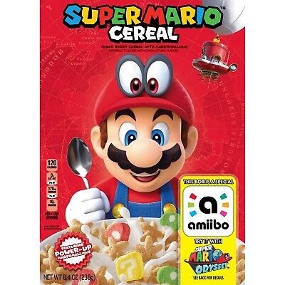 Kellogg's Super Mario Odyssey Cereal 8.4 Oz Box * Limited Edition w Amiibo Toy