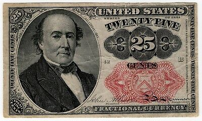1874 Fifth Issue 25 Cent Fractional Currency, Robert J Walker