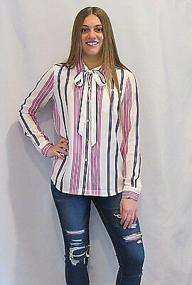 JUICY COUTURE Long Sleeve Branford Pink Stripe Bow Shirt Button Down Silky NEW