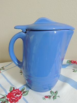 Vintage Pitcher Jug w Lid French Blue Oxford Ware Universal Pottery Ice Guard