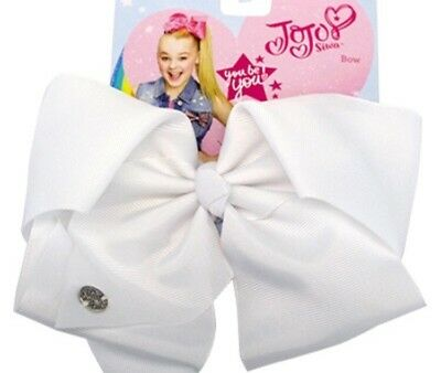 New JoJo Siwa Nickelodeon Signature large white Hair Bow JoJo Ribbon Bow