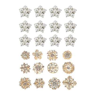 24pcs Small Crystal Pearl Button Brooch Pins Wedding Brooches Bouquet Kit