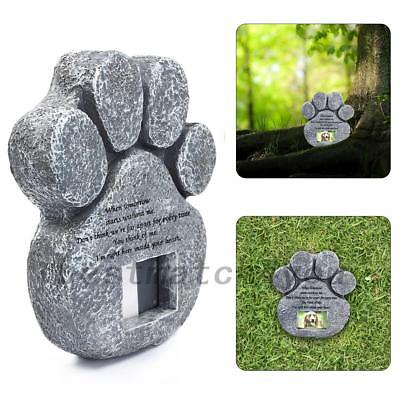 Paw Print Pet Memorial Stone Photo Poem Garden Dog Cat Marker Grave Tombstone