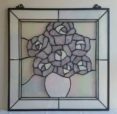 "Vintage Leaded Stained Glass Panel Vase of Roses Flowers 20"" x 20"""