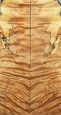 """Spalted Maple Bookmatch Wood Handle//Pistol Grip 6.1/""""x3.8/""""x1.2/"""" 3965"""
