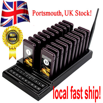 20 Restaurant Coaster Pager Guest Call Wireless Paging Queuing Calling System UK