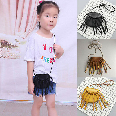 Kids Girls PU Leather Shoulder Bag Messenger Bag Tassels Princess Crossbody Bags