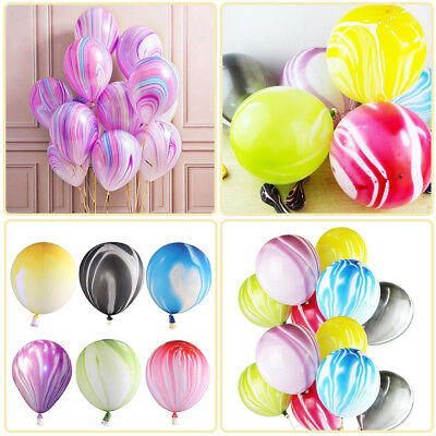 10X Agate Latex Balloons Rainbow Marble Wedding Birthday Party Xmas Decor 12''